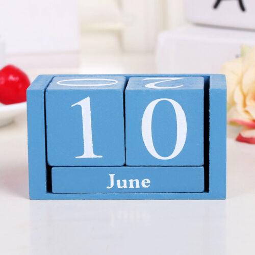 Vintage Wooden Perpetual Desk Calendar Wood Block Month Date Block Organizer