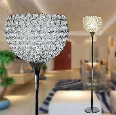 Modern Crystal Living Room Floor Lamp Gold Silver Chrome
