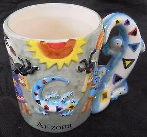 Ceramic Blue coffee tea mug 4 x 3¼ 5 dancing Kokopelli /& on handle White inside