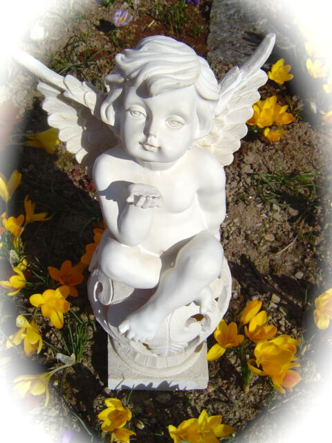 Solar LED Leuchte Garten Engel mit Kusshand RGB Grablicht Poly Engelsfigur 176