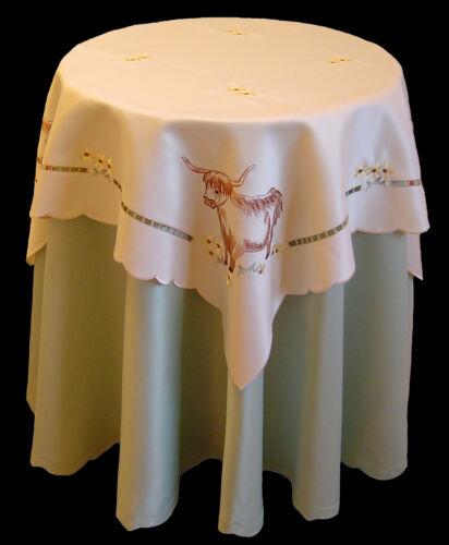 Nouveau brodé ecossais scottish highland vache bovins cuisine salle à manger table cloth
