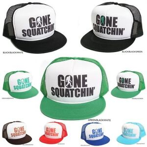New Retro  GONE SQUATCHIN  Sasquatch Big Foot Hat Cap Trucker ... 38ac49ef252