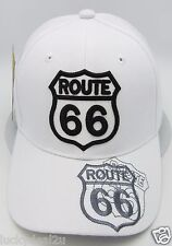 US ROUTE 66 Ball Cap Hat Mother Road Will Rogers Highway White Adjustable New