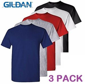 3-Pack-Plain-Blank-Gildan-100-Heavy-Cotton-T-shirt-Tshirt-in-Multi-Colors-G5000