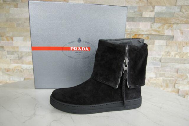 PRADA Gr 37,5 Stiefeletten Booties Stiefel Schuhe schwarz nero shoes neu UVP550€