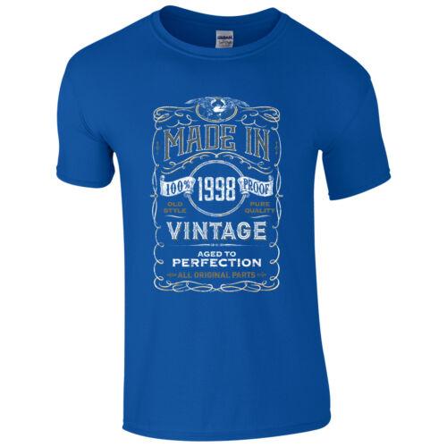Made in 1998 T-shirt Born 21st année anniversaire âge présent Vintage Drôle Pour Homme Cadeau