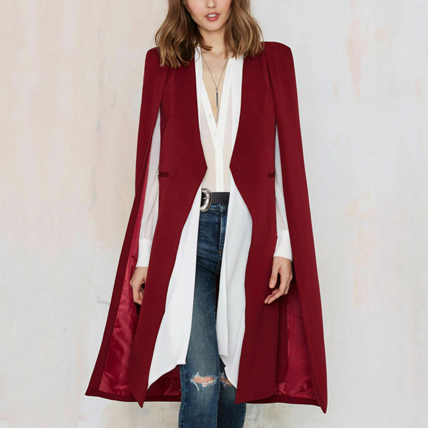 Womens Casual Loose Cape Cardigan Long Cloak Jacket Trench ...