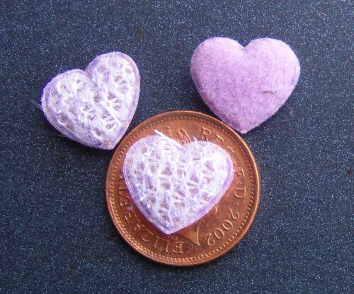 1:12 SCALA 3 piccola MALVA cuore forma cuscini tumdee Casa delle Bambole in Miniatura