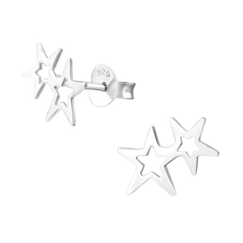 Graduated Stars Sterling Silver Small Stud Earrings 10mm