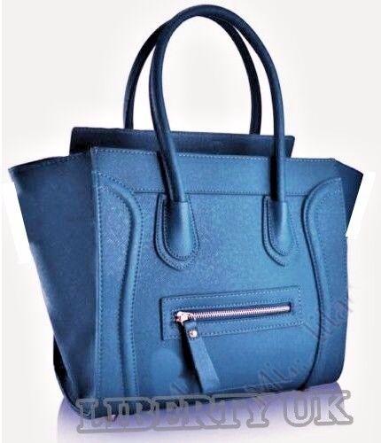 Ladies Designer Long Handle Tote Shoulder Handbag Reversible PU Leather Bag