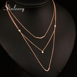Image is loading Luxury-Multi-Layers-Crystal -Geometric-Long-Pendant-Necklace- b857e538c357
