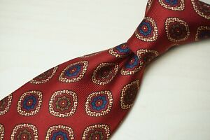 Domenico Spano x Michael Drakes Cherry Red Floral Badge Silk Twill Tie England