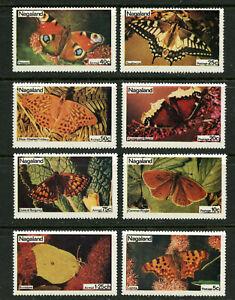 Papillons-MNH-Ensemble-De-8-Timbres-Nagaland