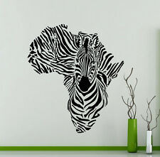 Zebra Wall Decal Africa Map Wild Animal Vinyl Sticker Home Art Decor Mural 47xx