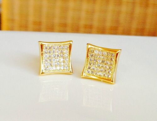 Mens /& Ladies 18K Gold Finish 0.5 ct Lab Diamond Screw Back Stud Earrings 8mm