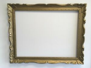 VTG-MID-CENTURY-Wide-Carved-Wood-Chunky-Picture-FRAME-Fits-25-1-2-034-x-33-1-2-034
