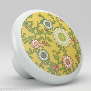 Retro-Yellow-Flower-Pattern-Ceramic-Knob-Pull-Kitchen-Drawer-Cabinet-Vanity-505