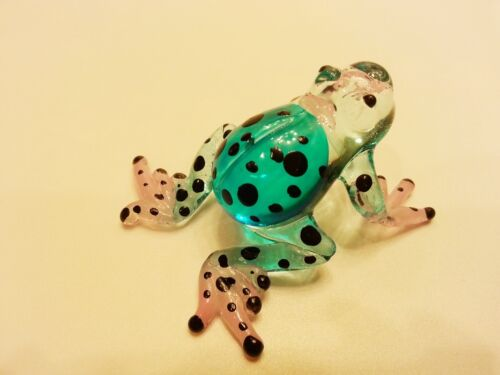 ฺFrog11 Figurine Art Animal Hand Blown Glass Miniature Collect Home Decor Gifts