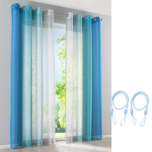 2 Stück Voile Sheer Fenster Vorhang Gesamtbreite 280cm und Vorhang Seil
