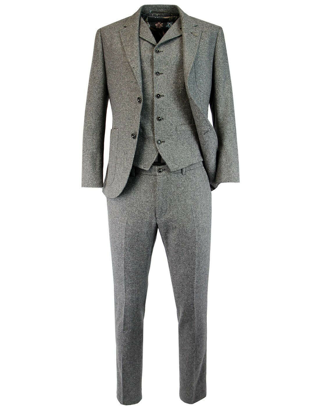 GIBSON LONDON 3 Piece Grey Donegal Suit tweed 40R