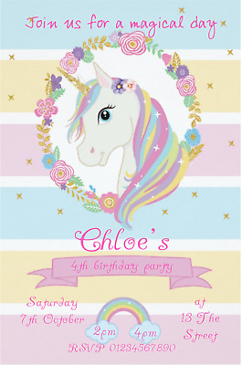 Details About 10 UNICORN PERSONALISED BIRTHDAY PARTY INVITATIONS OR THANK YOUS NEW FOR 2018