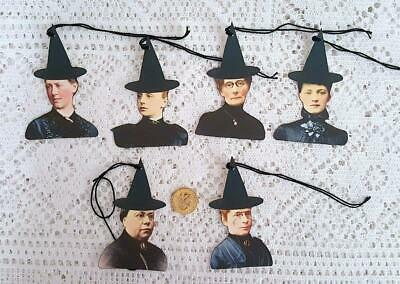 Halloween~Primitive~Vintage~Witch~Wicca~Samhain~Linen Cardstock~Gift~Hang~Tags