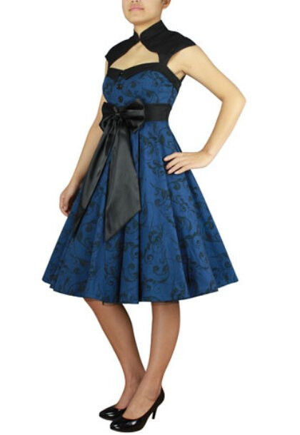 Plus Größe Blau schwarz Printed Archaize Pinup 50's Retro Swing Dress 1X 2X 3X 4X