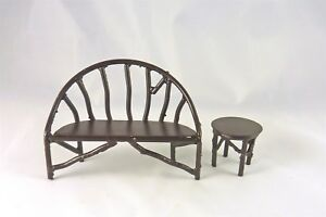 Closeout-Dollhouse-Miniature-Rustic-Iron-Wildwood-Bench-amp-Side-Table