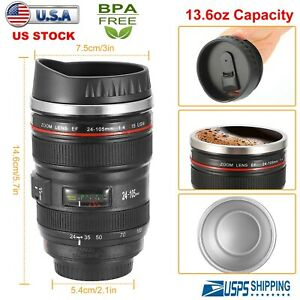 400ML-Camera-Lens-Cup-Coffee-Travel-Mug-Thermos-Stainless-Steel-Leak-Proof-Lid