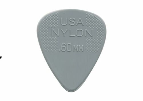 Jim Dunlop Nylon Standard Picks .60mm  Pack of 12 Picks Grey Plectrums