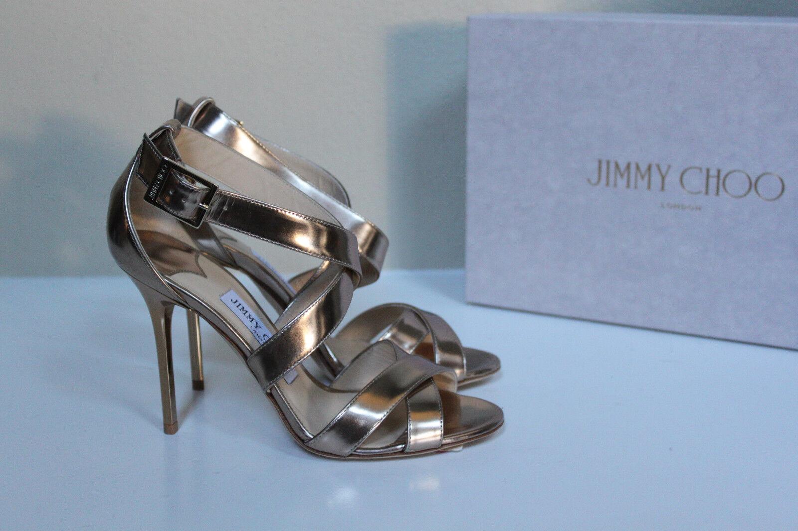 6.5 / 36.5 36.5 / Jimmy Choo Lottie Gold Mirror Leather Open Toe Ankle Sandal Heel Shoe 3f38a4