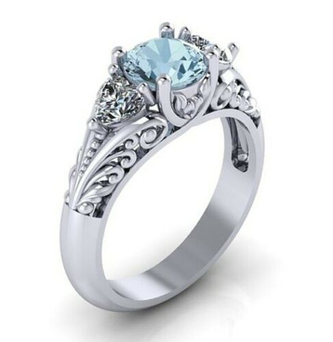 925 Silver Aquamarine Women Jewelry Wedding Engagement Party Ring Size 5-11 Ms