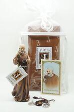 "NEW! 6"" Saint Padre Pio Statue Set from Joseph Studio,Medals and Prayer Card."
