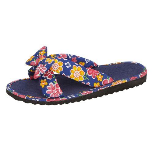 Ladies Floral Bow Open Toe Sliders Flip Flops Sandals