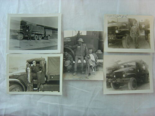 Lot of 5 Vintage 1950s Photos Army Men w Military Trucks maybe Korea 789005