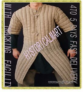 Thick Black Color Long Gambeson Medieval Padded Play Movie Armor Full Sleeves