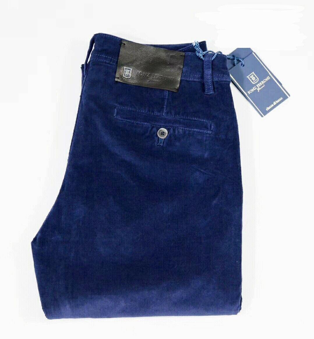 Fonz Ferroni Corduroy Pants bluee Stretch Fabric Modl  JFW-9802 Straight Sz 32