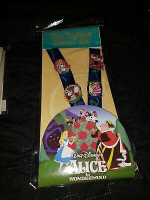 Disney Pin Parks Alice in Wonderland Trading Neck Lanyard Starter Set  w// 4 Pins