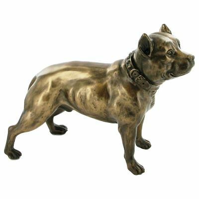 Pit Bull Terrier Figurine Bronze Effect Sculpture Pitbull Statue Ornament