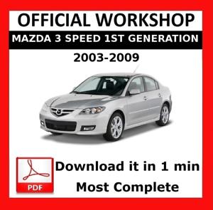 official workshop manual service repair mazda 3 speed 1 2003 2009 rh ebay co uk 2009 mazda 3 factory service manual 2010 Mazda 3