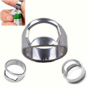 Edelstahl metall finger ring bier weinflasche ffner bar for Turschloss offner werkzeug