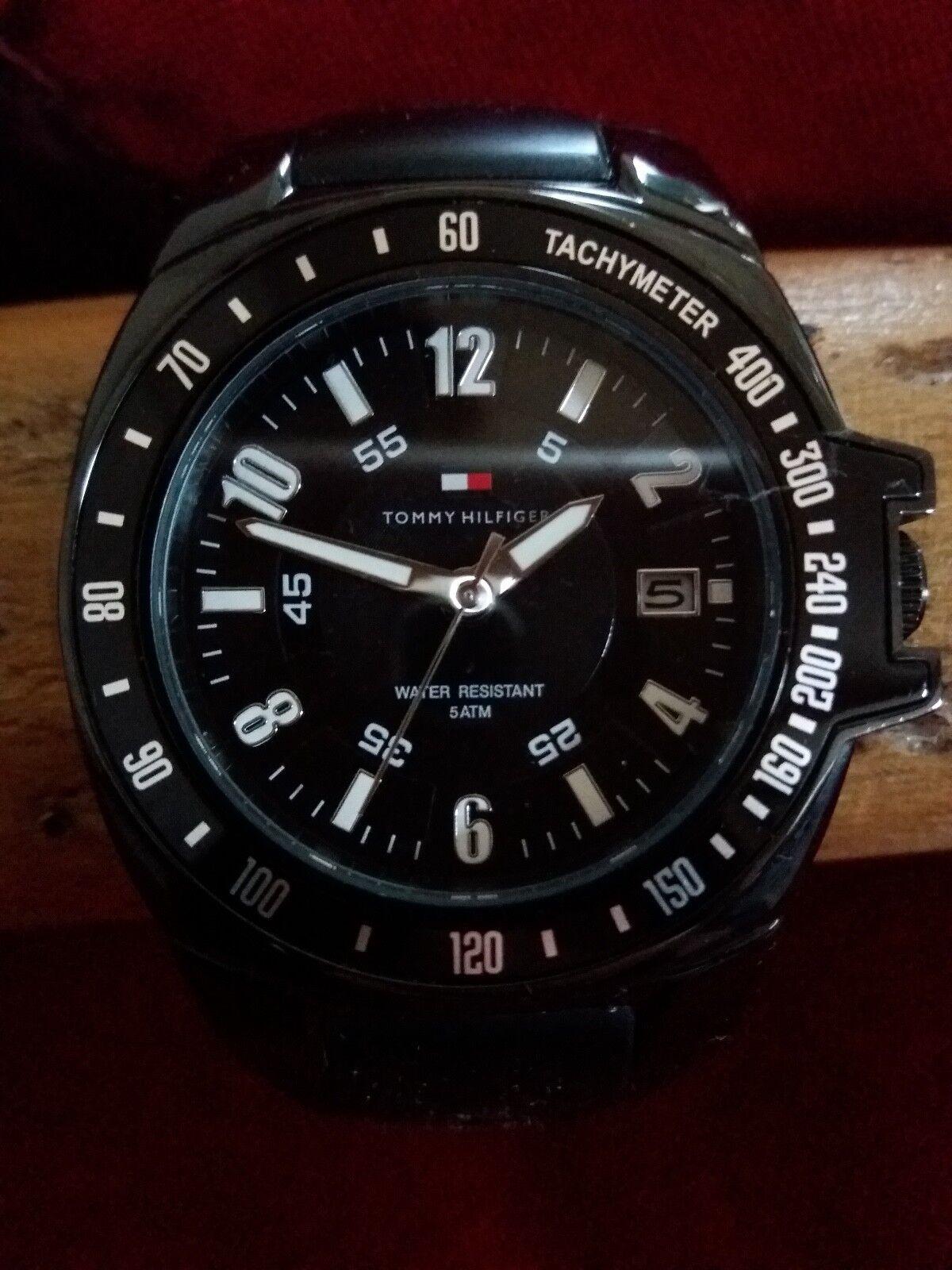 Tommy Hilfinger Herren Uhr, schwarz, guter Zustand,Tachometer, Edelstahl, 5ATM