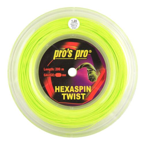 Pro's Pro Hexaspin Twist Tennis String - 200m (660ft) Reel - 1.20mm - Lime