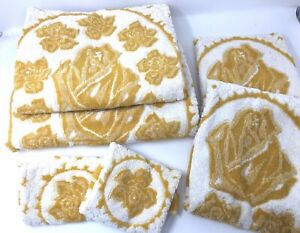 Vintage-TEXCRAFT-TOWELS-Set-of-6-Gold-amp-White-Roses-100-Cotton-Made-In-Brazil