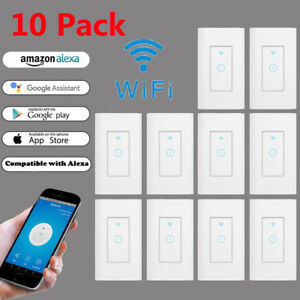 Details about 10Pack Smart WiFi Wall Light Switch Remote Control Works on wired wireless light switch, closet to control light switch, light and fan rotary switch, cordless with remote switch, 12 volt up down switch, add wire to neutral switch, heavy duty remote starter switch, hard wired light socket, hard wired timer switch,