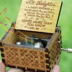 Papa-a-Hija-Manivela-a-mano-grabado-madera-caja-de-musica-interesantes-juguetes