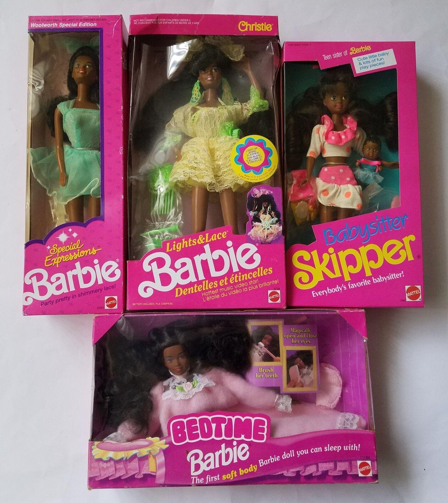 (4) afroamericano Muñecas Barbie Skipper, Christie, la hora de acostarse, expresión especial