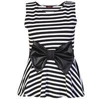 New Women Ladies Stripe Print Wet look Bow Peplum Skater Top Flared Vest