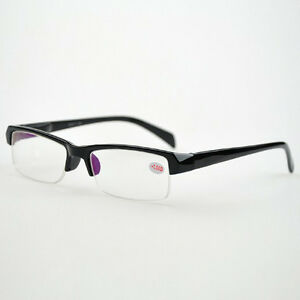 Rimless Distance Glasses : Unisex Black Half Rimless Nearsight Myopia Glasses -1-1.5 ...