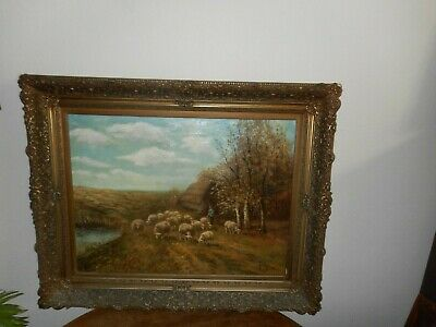 Decorative Arts Large Antique Oil Painting,{ Piet Bouter 1887-1968 Herder With His Flock }.